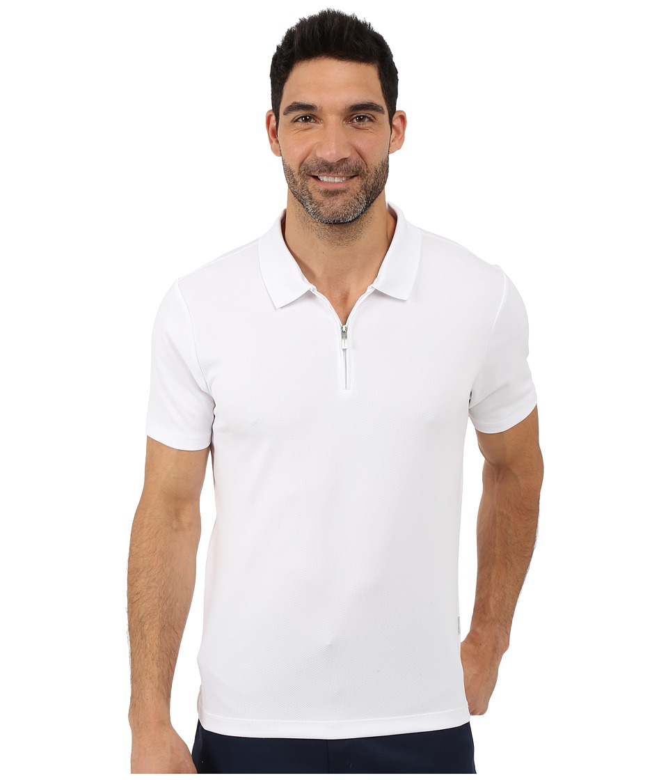 Perry Ellis Solid Polo with Zipper Closure Bright White Mens Short Sleeve Knit