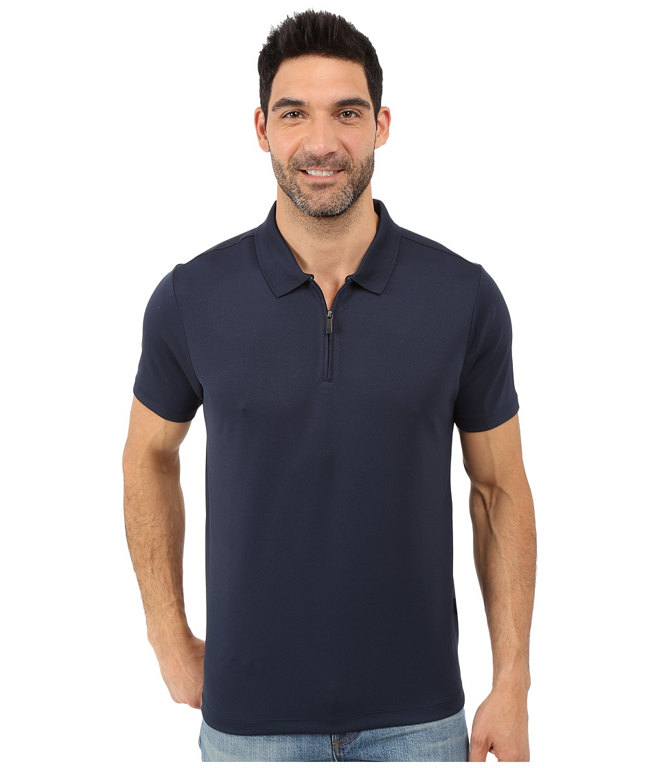 Perry Ellis Solid Polo with Zipper Closure Dark Sapphire Mens Short Sleeve Knit