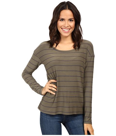 Splendid - Loralie Raised Yarn-Dye Stripe Long Sleeve (Military Olive) Women's Clothing