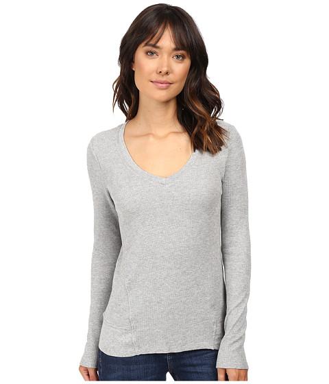 Splendid - Thermal V-Neck Long Sleeve (Heather Grey) Women's Clothing