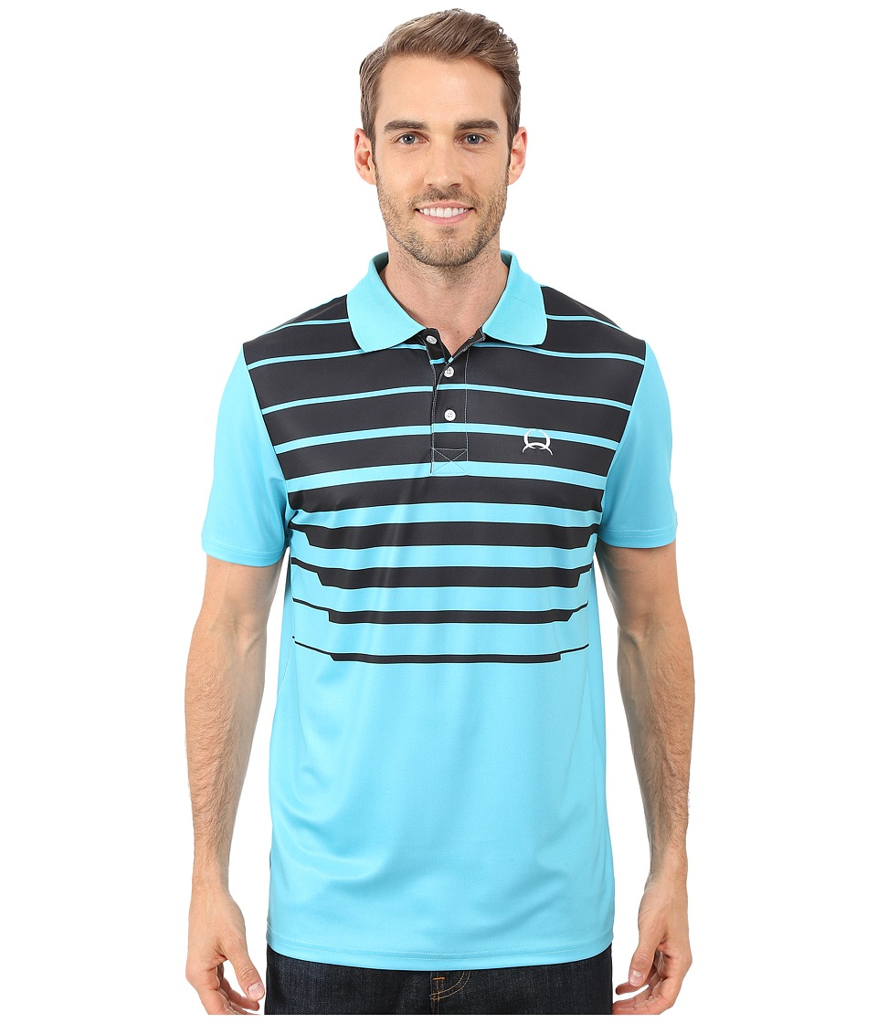 Cinch Athletic Tech Polo Striped Blue Mens Clothing