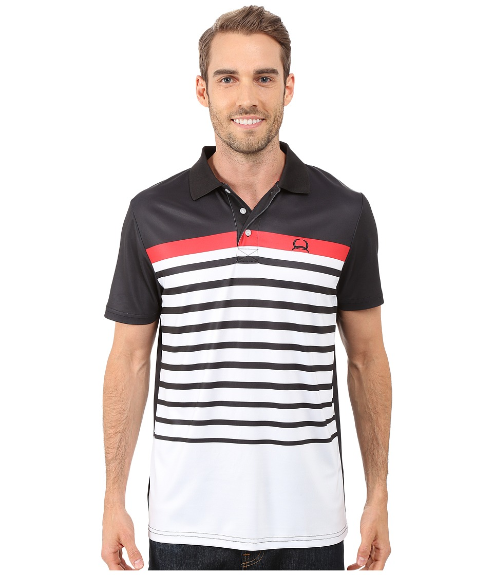 Cinch Athletic Tech Polo Striped Black Mens Clothing