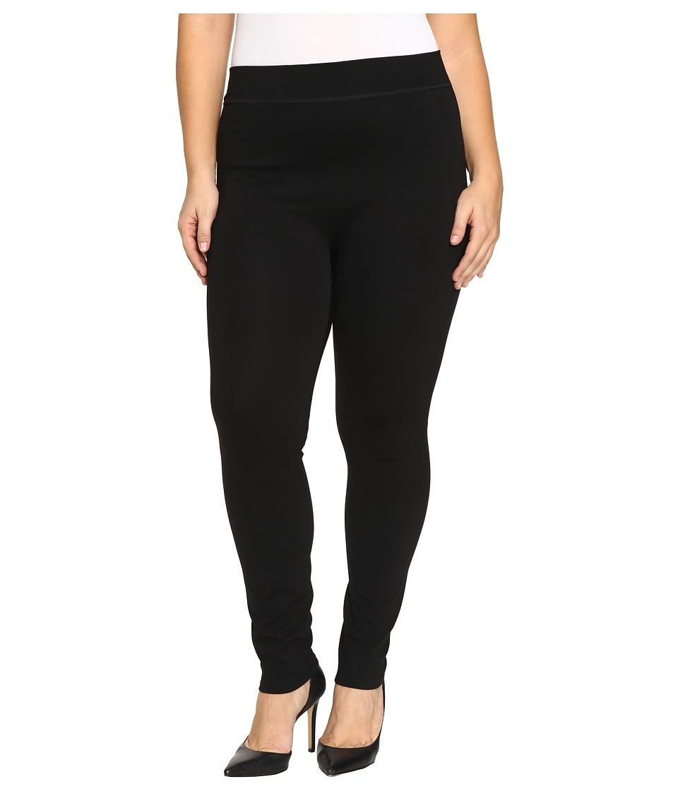 HUE Plus Size Double Knit Shaping Leggings (Black) Women