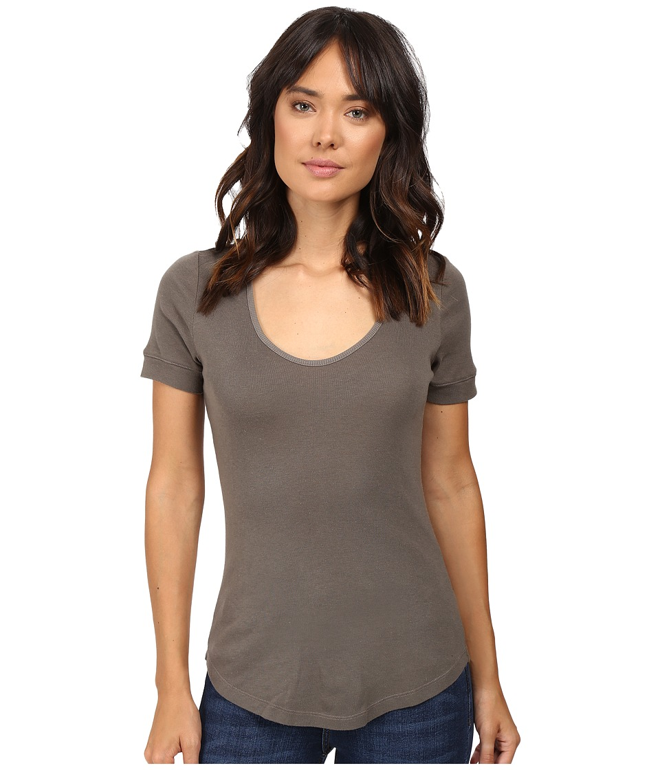 Splendid 1X1 Scoop Neck Tee (Military Olive) Women