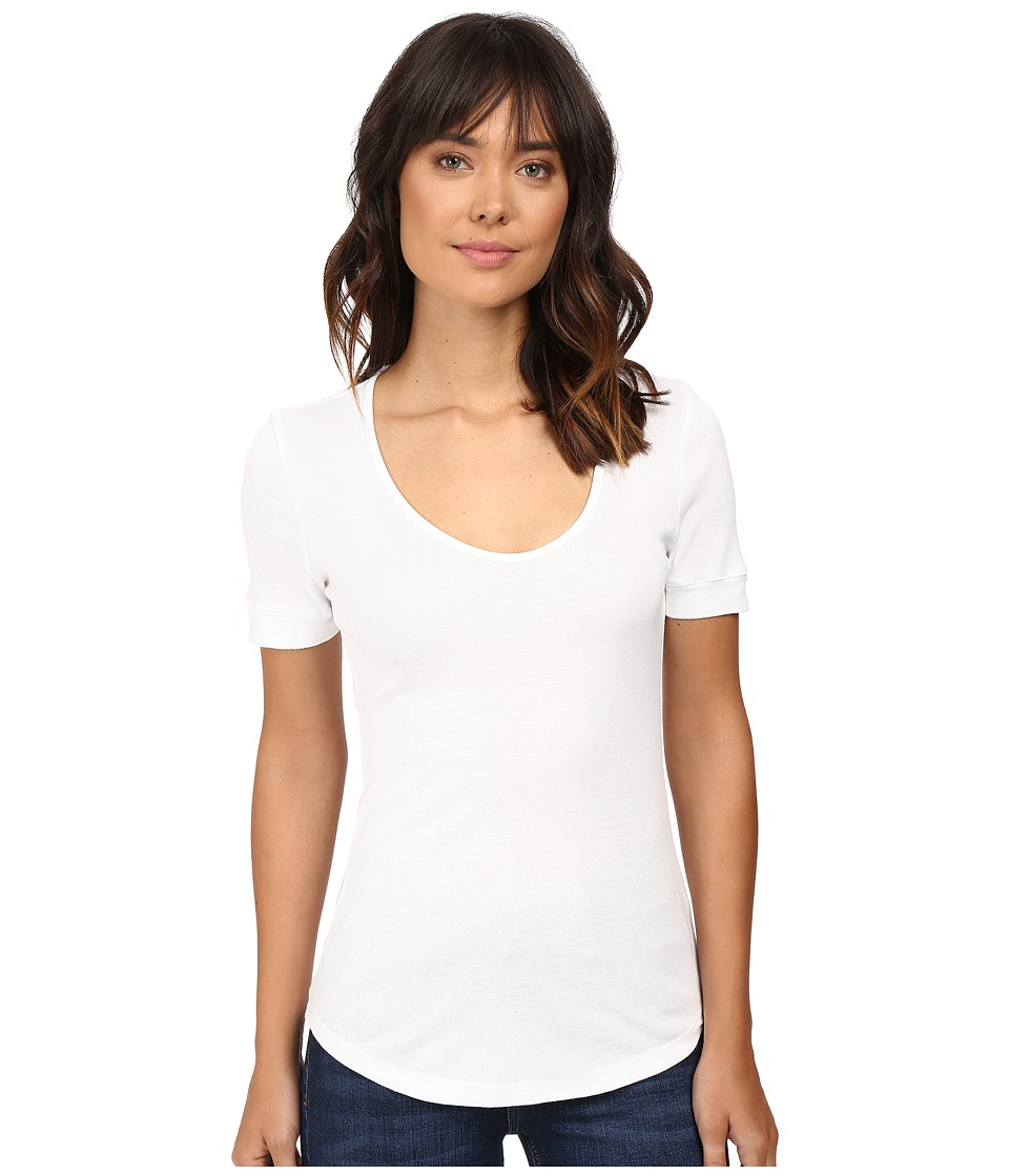 Splendid 1X1 Scoop Neck Tee (White) Women