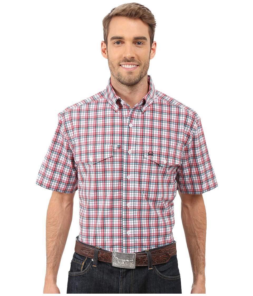 Cinch Athletic Plaid Double Pocket White Mens Short Sleeve Button Up