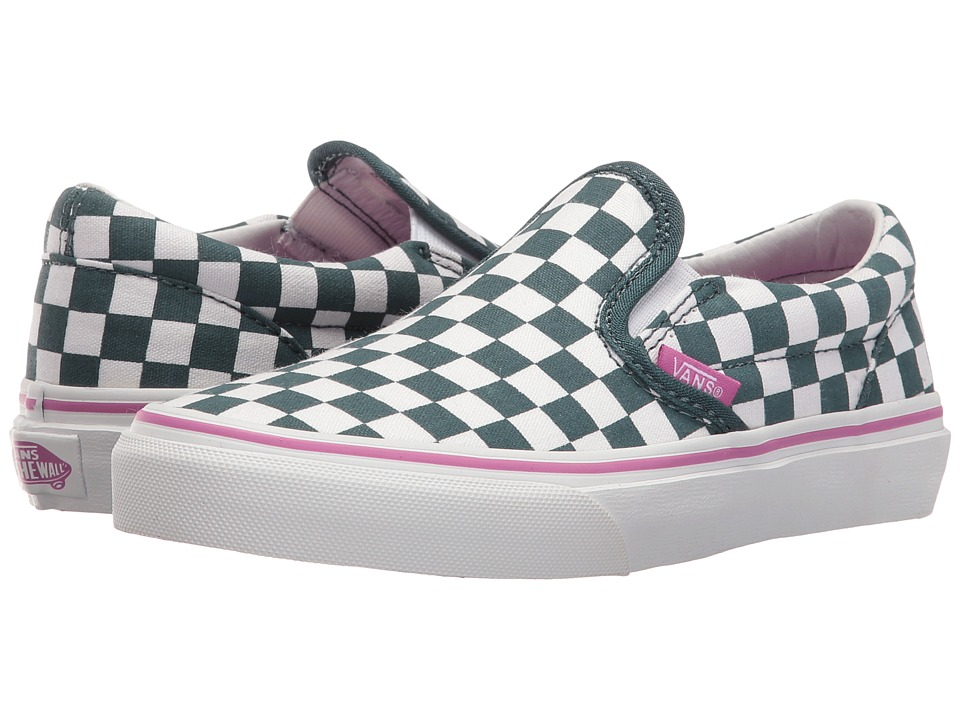 Vans Kids - Classic Slip-On (Little Kid/Big Kid) ((Checkboard) Atlantic Deep) Girls Shoes