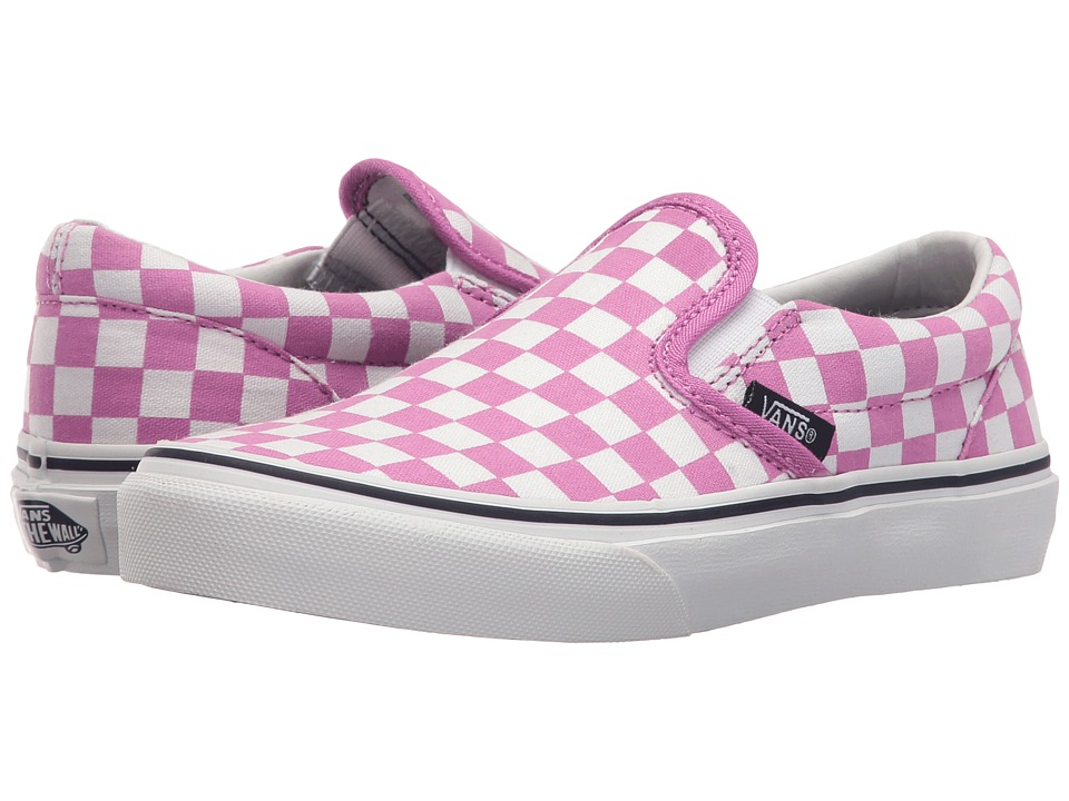 Vans Kids - Classic Slip-On (Little Kid/Big Kid) ((Checkboard) Rosebud) Girls Shoes