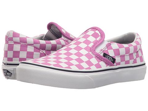Vans Kids Classic Slip-On (Little Kid/Big Kid) - (Checkboard) Rosebud