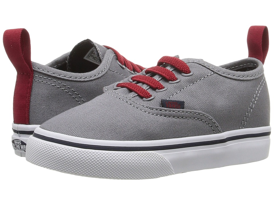Vans Kids - Authentic V Lace (Toddler) ((Pop) Frost Gray/Racing Red) Boys Shoes
