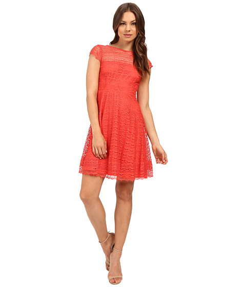 Jessica Simpson Lace Cap Sleeve Fit & Flare Dress JS6T8820