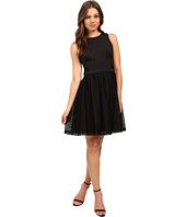 Jessica Simpson - Solid Fit & Flare Dress with Lace Skirt JS6D8661