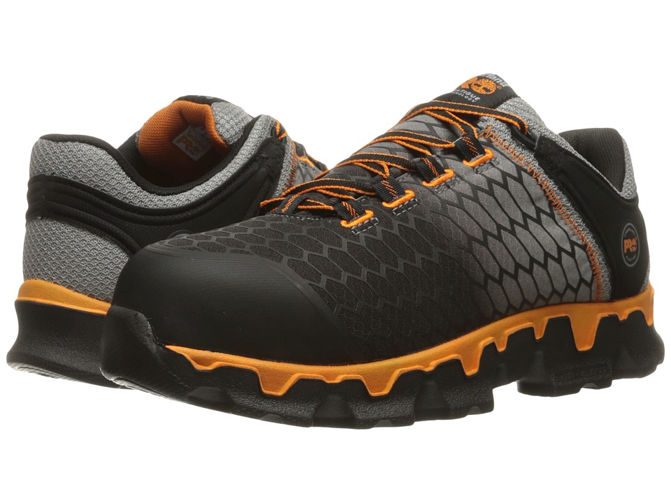 Timberland PRO - Powertrain Alloy Toe SD+ (Grey Synthetic/Orange) Mens Work Lace-up Boots