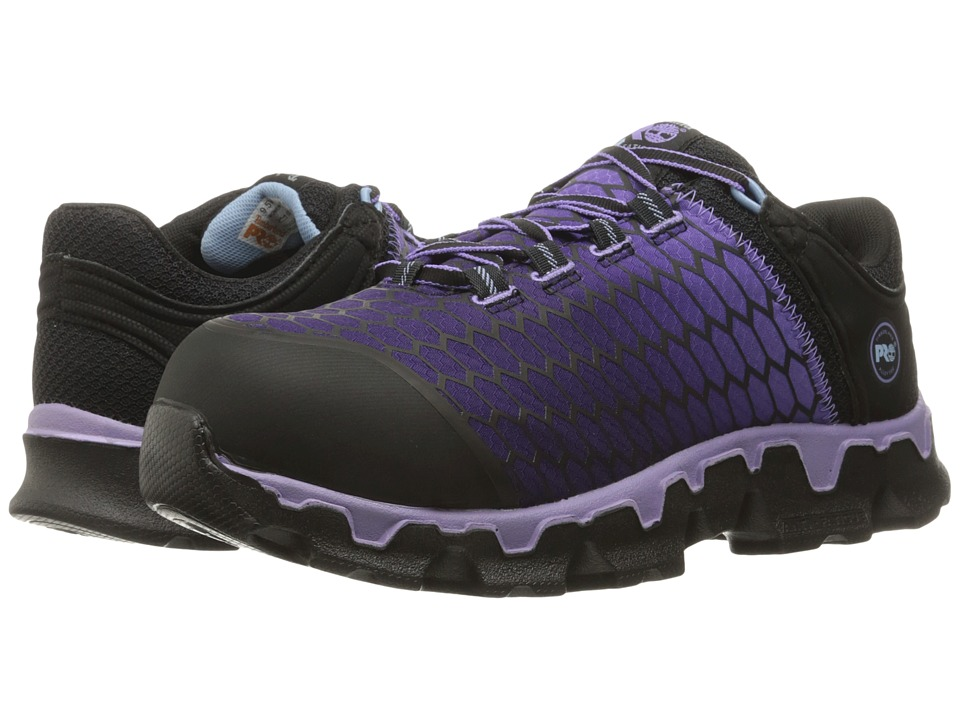 Timberland PRO - Powertrain Sport Alloy Toe SD+ (Black Synthetic/Lavender) Womens Work Lace-up Boots
