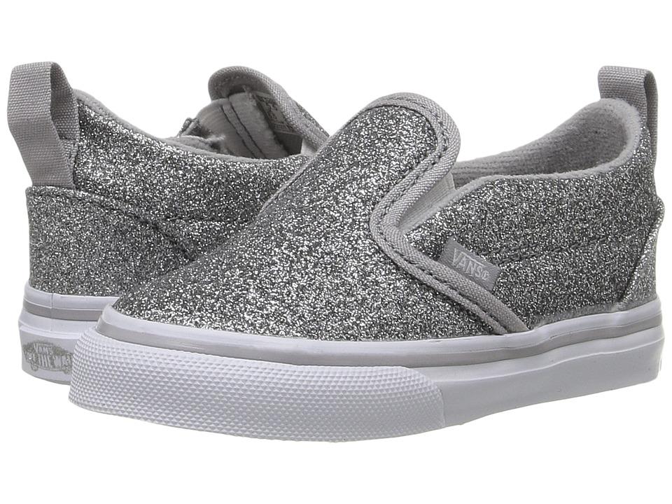 Vans Kids - Slip-On V (Toddler) ((Shimmer) Silver) Girls Shoes