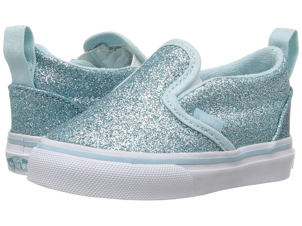 Vans Kids - Slip-On V (Toddler) ((Shimmer) Blue) Girls Shoes