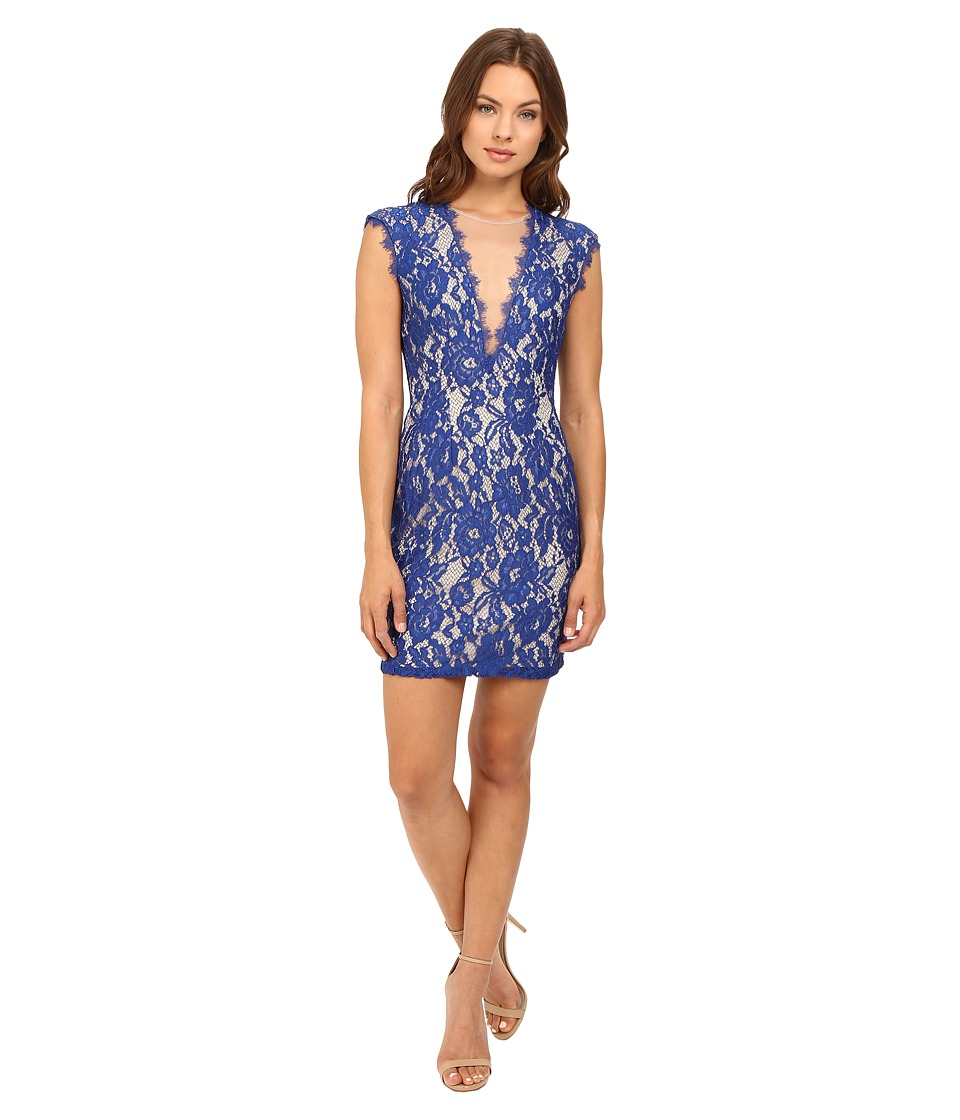 Aidan Mattox Stretch Lace Cocktail Dress with Deep V-Neckline (Neptune/Nude) Women