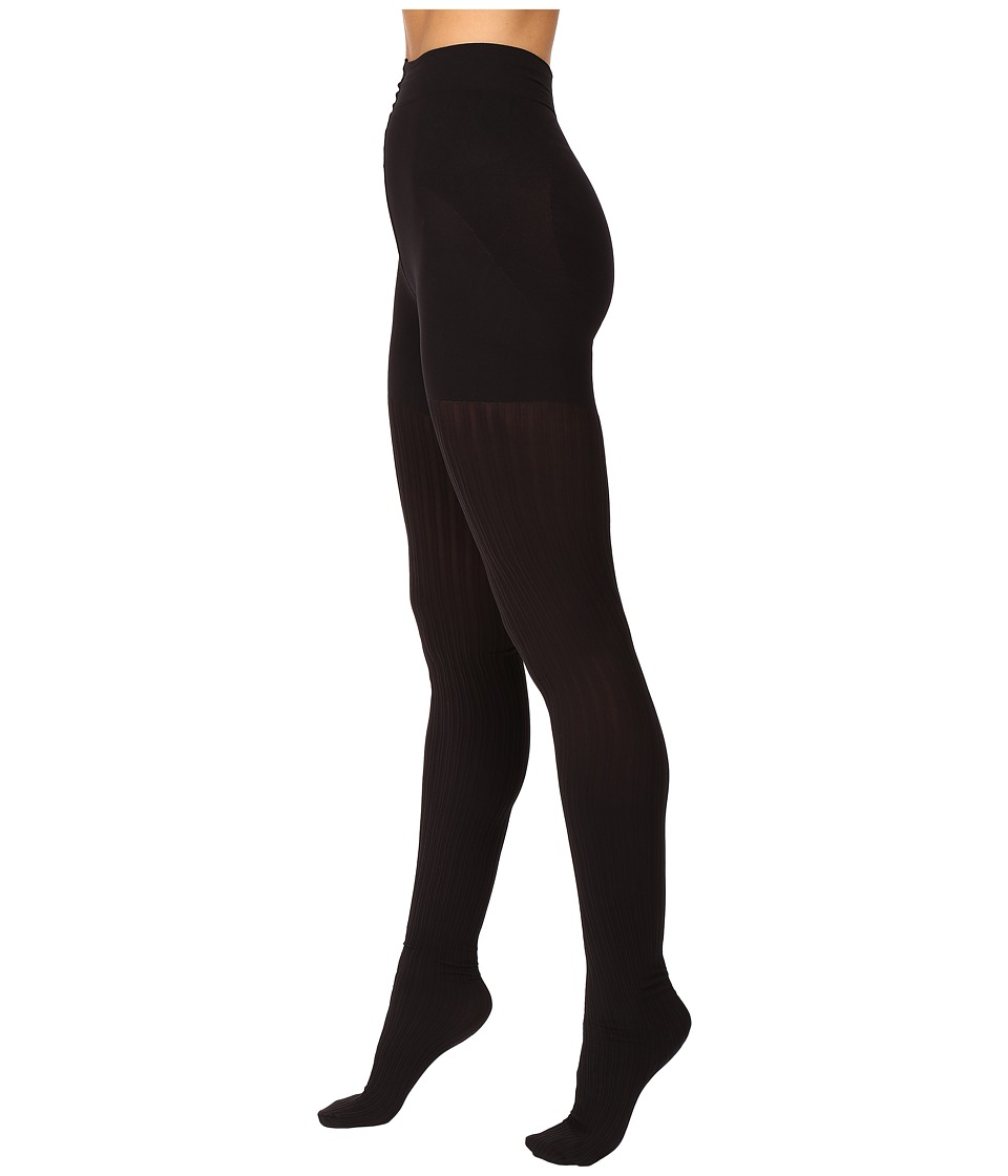 HUE - Double Rib Shaping Tights (Black) Hose