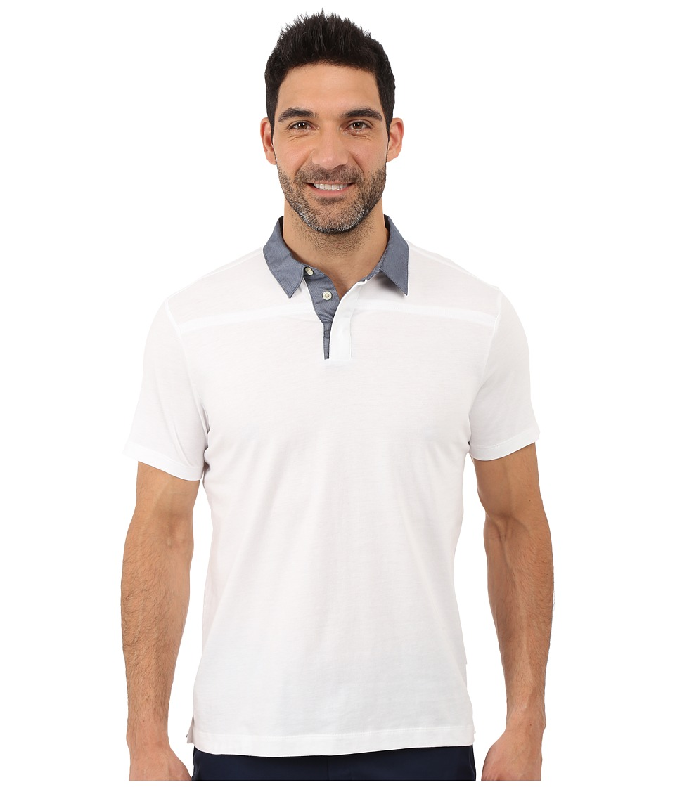 Perry Ellis Pima Polo with Woven Collar Bright White Mens Short Sleeve Knit