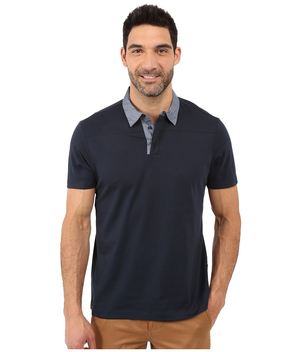 Perry Ellis Pima Polo with Woven Collar Dark Sapphire Mens Short Sleeve Knit