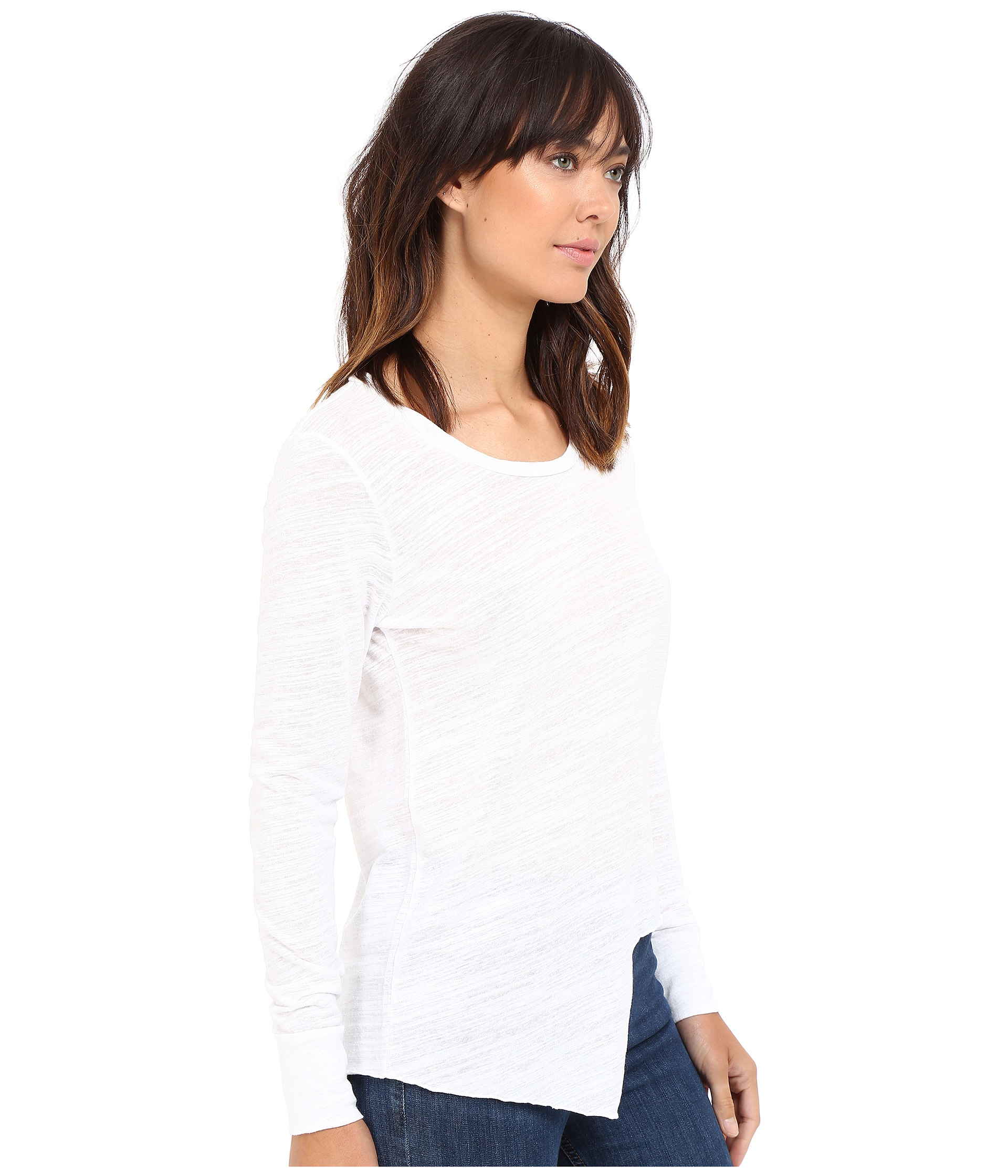 LNA Round Neckline Uneven Marrow Long Sleeve