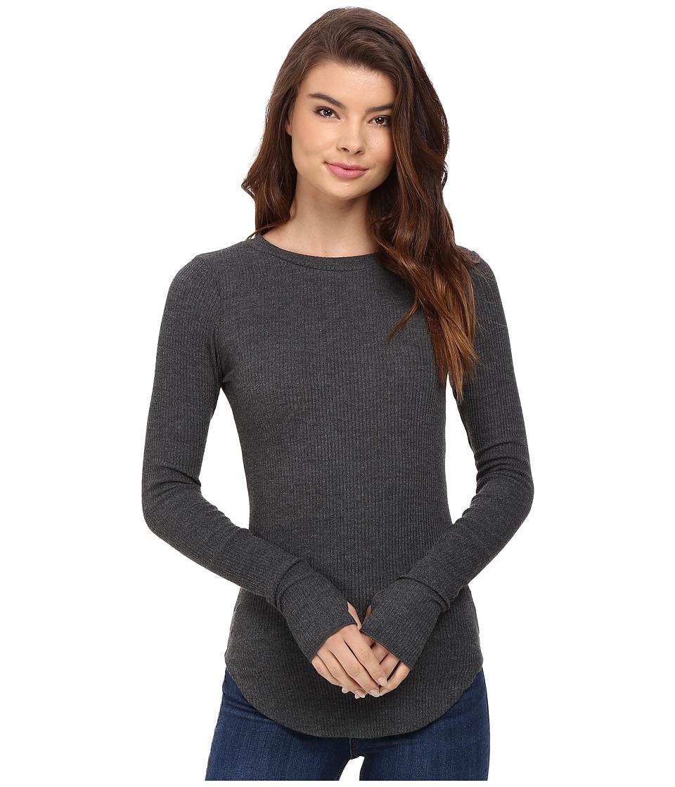 LNA - Sloane Rib Long Sleeve (Charcoal) Women