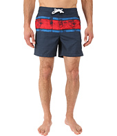 Original Penguin - Engineered Stripe Faux Slub Print Fixed Volley Swim Shorts