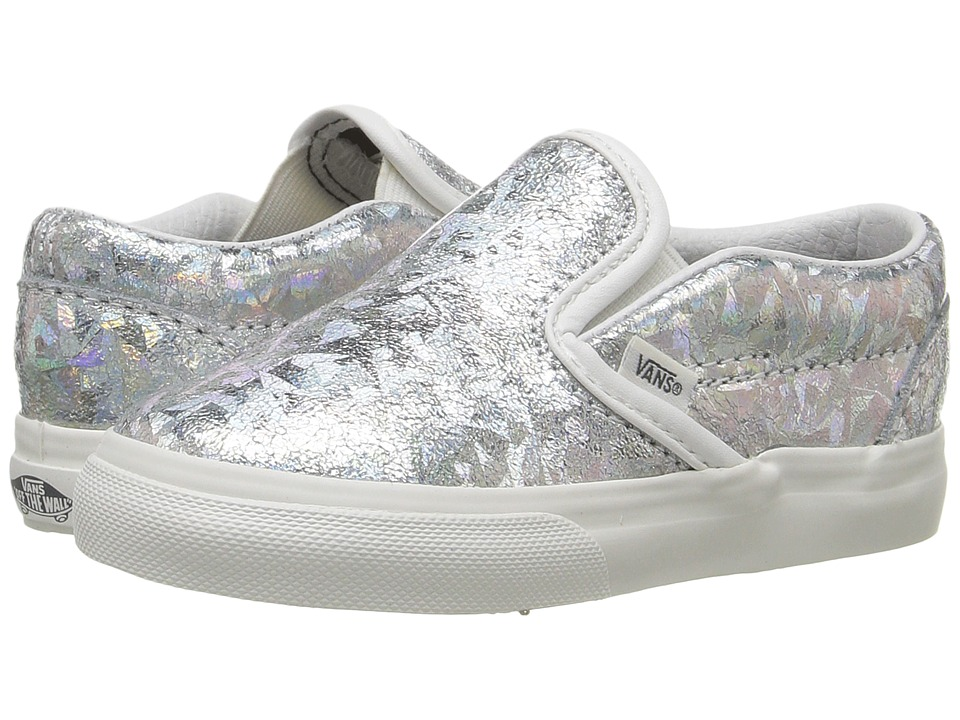 Vans Kids - Classic Slip-On (Toddler) ((Hologram) Silver/Blanc De Blanc) Girls Shoes