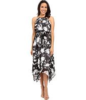 Sangria - Floral Print Chiffon Midi Dress w/ Hardware
