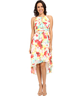 Sangria - Floral Print Chain Strap High-Low Dress w/ Ruched Waist