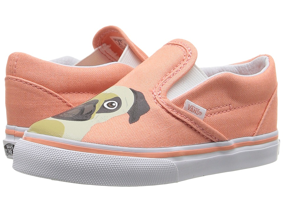 Vans Kids - Classic Slip-On (Toddler) ((Pug) Burnt Coral) Girls Shoes