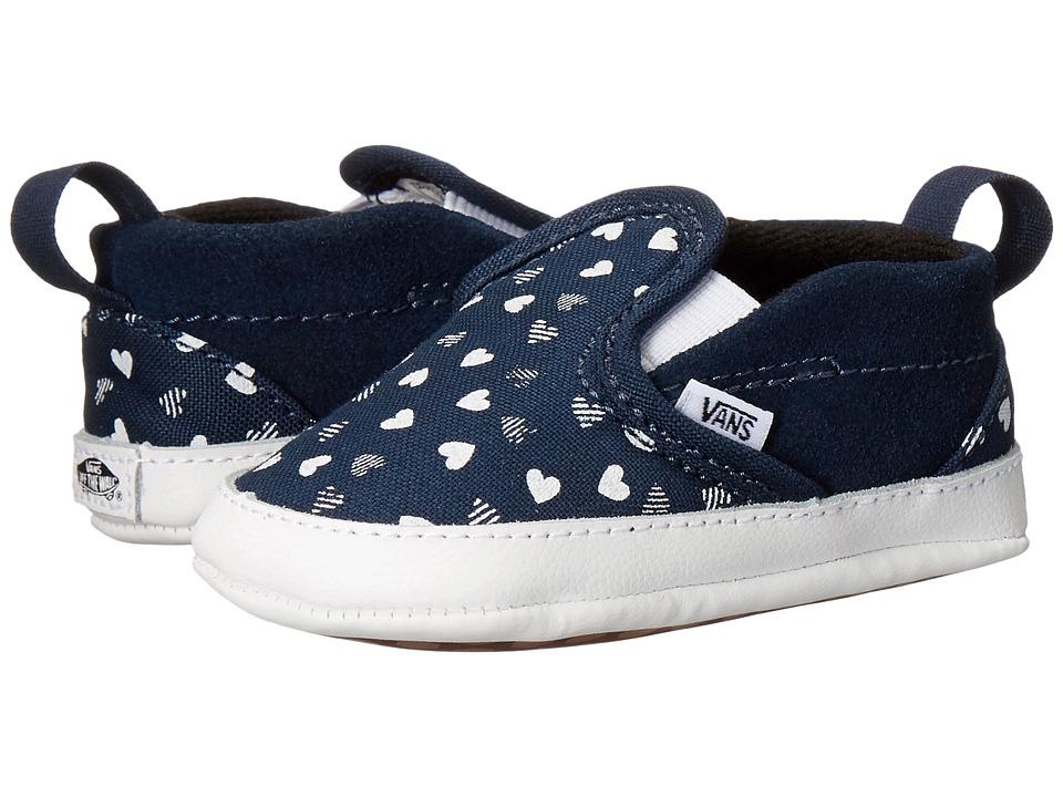 Vans Kids - Slip-On V Crib (Infant/Toddler) ((Hearts) Dress Blues/True White) Girls Shoes