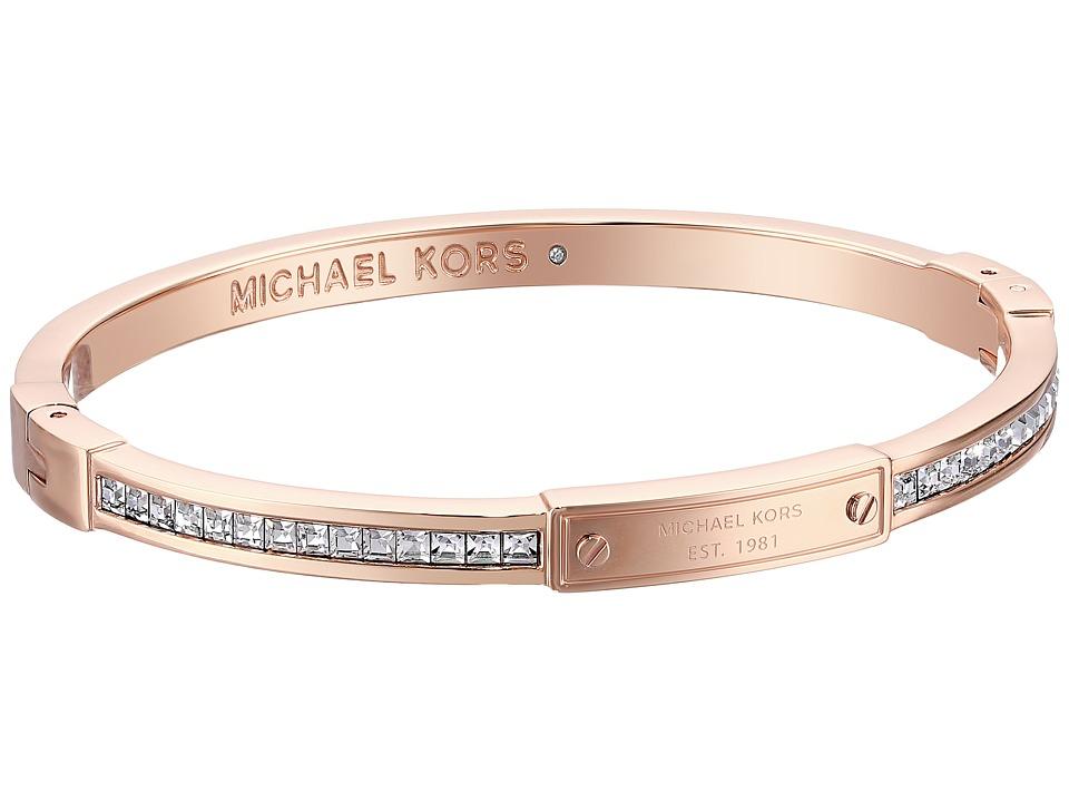 Michael Kors - Logo Plaque Hinge Bracelet (Rose Gold) Bracelet