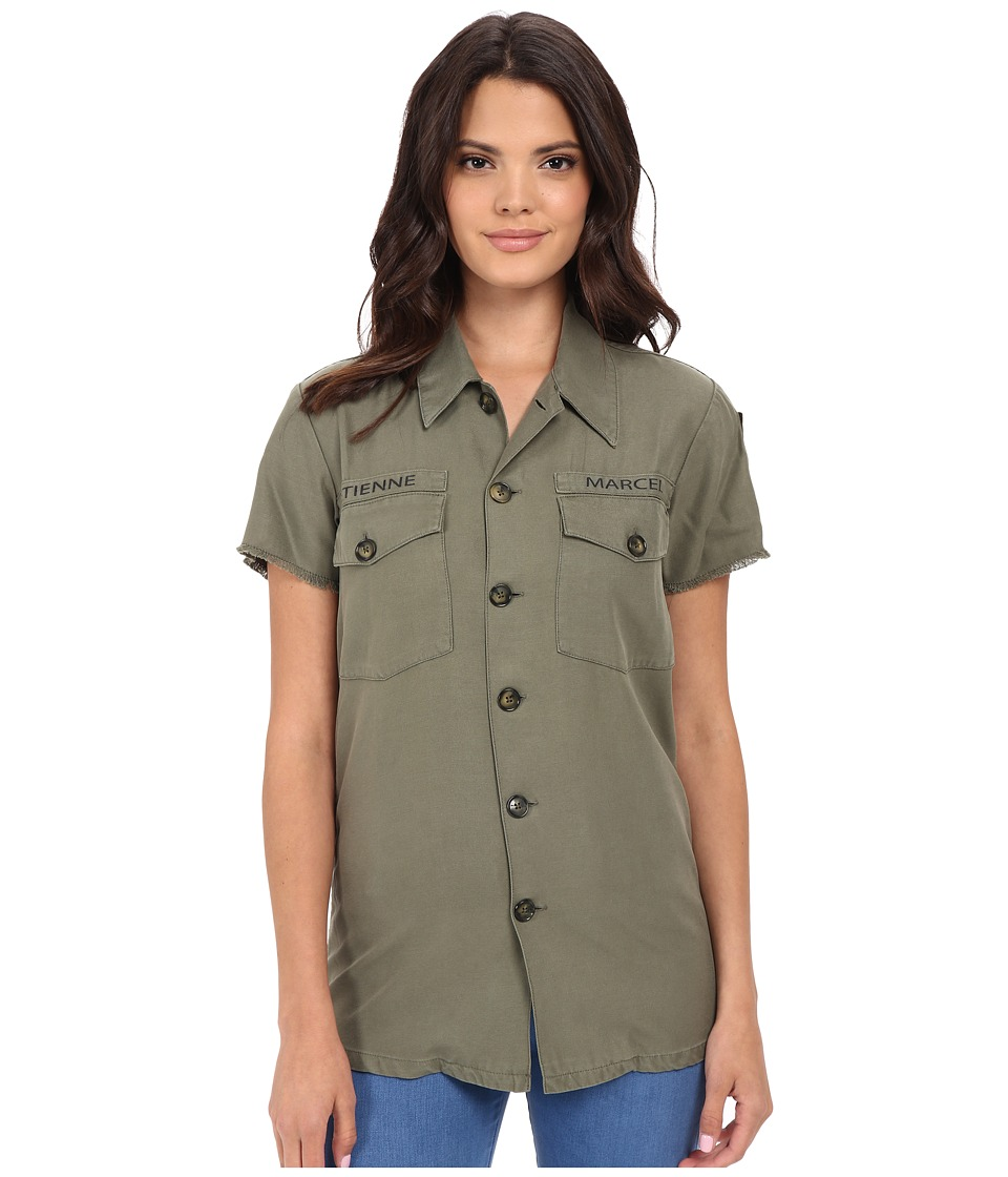 ETIENNE MARCEL EM7318 Army Shirt Military Womens Short Sleeve Button Up