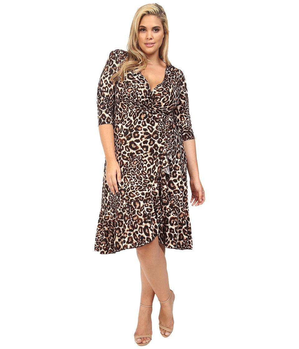 Kiyonna Flirty Flounce Wrap Dress (Leopard) Women