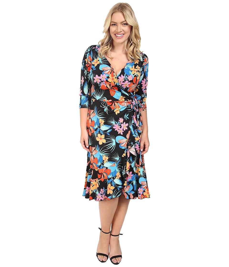 Kiyonna Flirty Flounce Wrap Dress (Tropical Print) Women