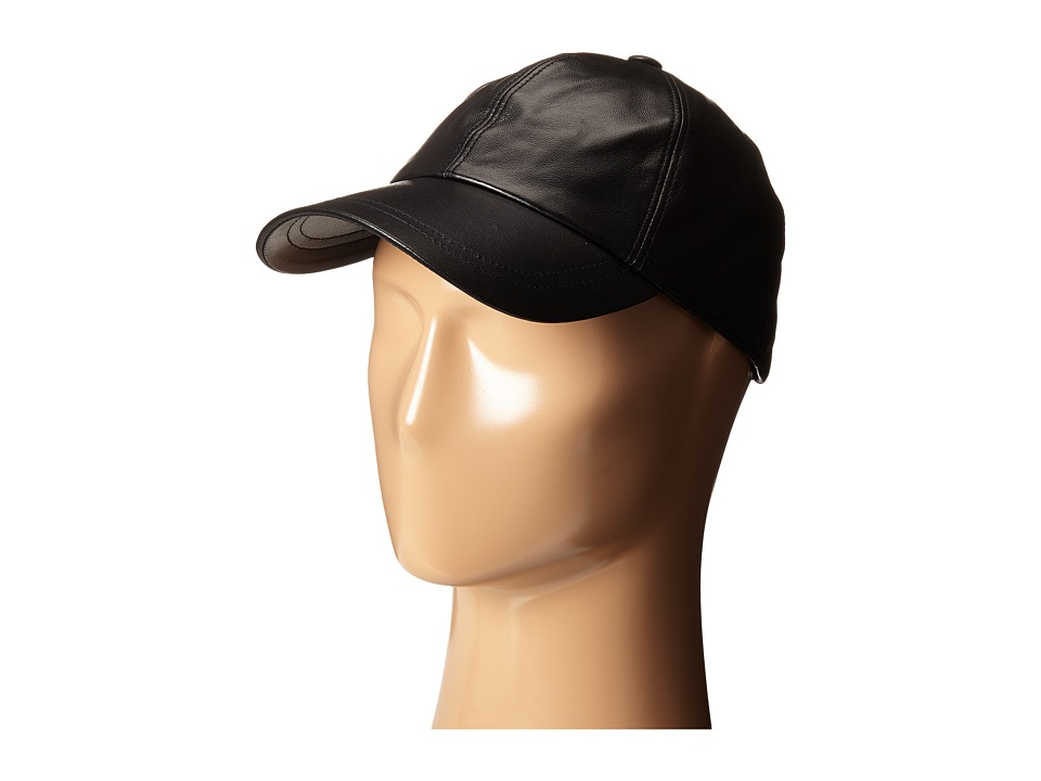 Hat Attack - Leather Baseball Cap (Black) Baseball Caps