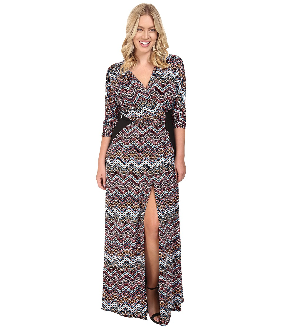 Kiyonna Morrocan Majesty Maxi Dress (Chevron Mix Print) Women
