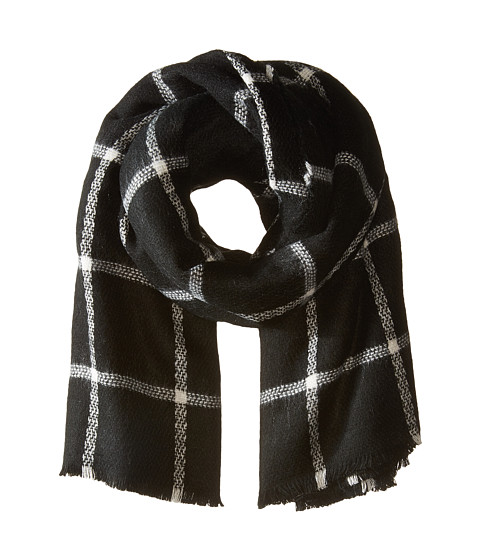 Hat Attack Windowpane Scarf - Black/Ivory