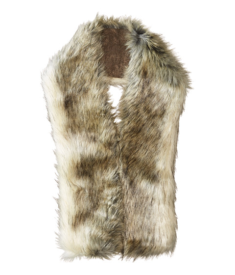 Hat Attack Faux Fur Long Collar - Ivory/Black