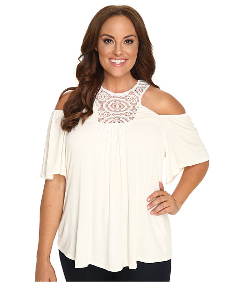 Kiyonna - Cali Crochet Top (Ivory) Women's Clothing