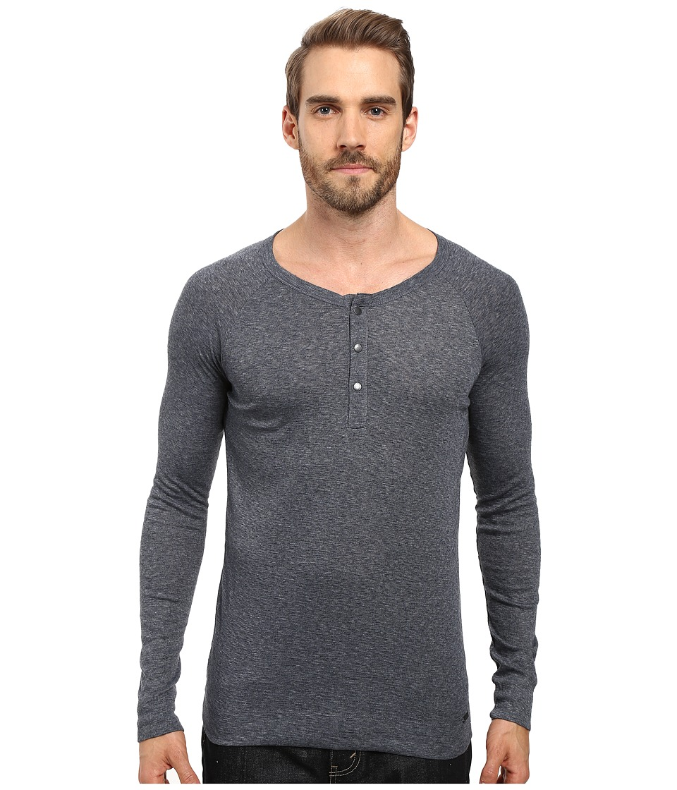 BOSS Orange - Tambow Melange Rib Henley (Blue) Men