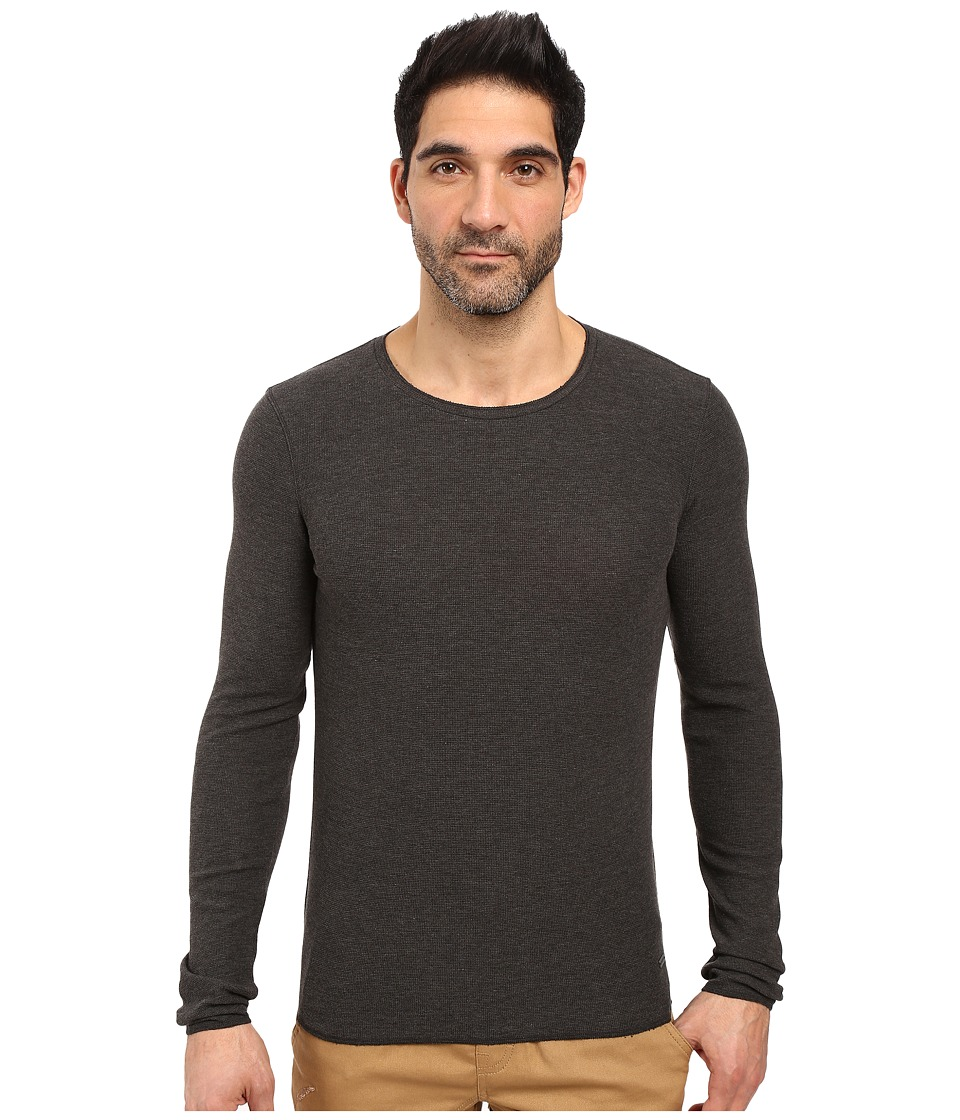 BOSS Orange - Terris 1 Long Sleeve Heather Waffle T-Shirt (Grey) Men