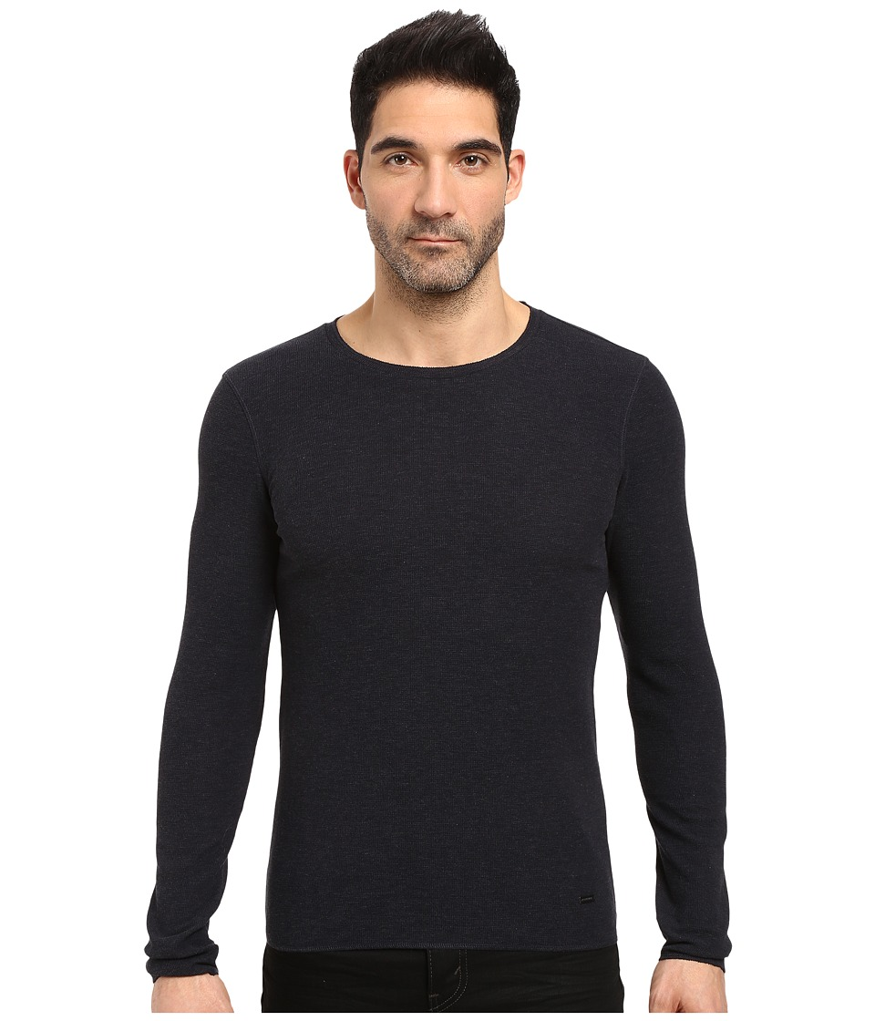 BOSS Orange - Terris 1 Long Sleeve Heather Waffle T-Shirt (Blue) Men