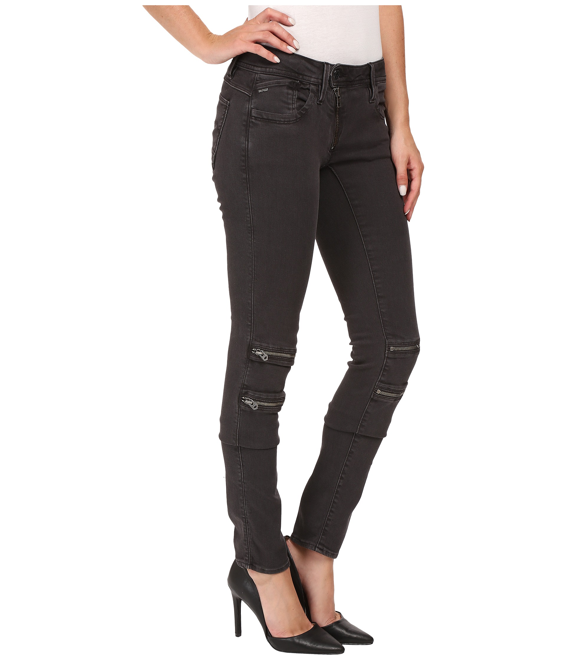 g star lynn custom mid skinny jeans in slander superstretch crieff black crieff black zappos. Black Bedroom Furniture Sets. Home Design Ideas
