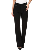 NYDJ - Marilyn Straight Pants in Ponte Knit w/ Faux Leather Trim