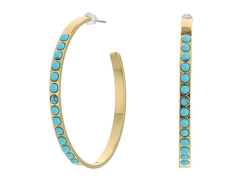 Rebecca Minkoff Beaded Hoop Earrings - Gold/Turquoise