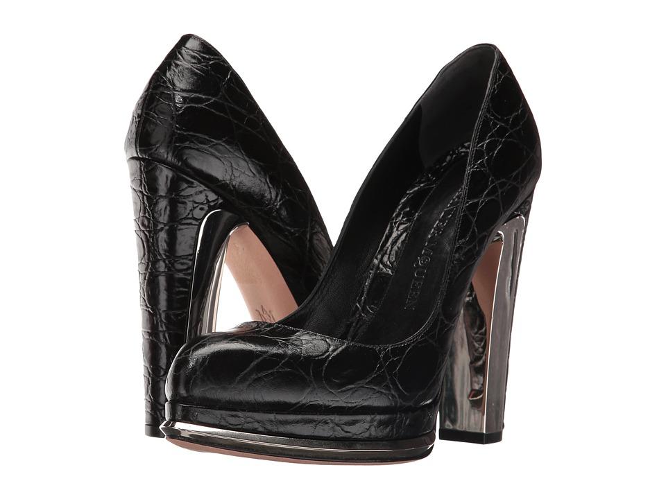 Alexander McQueen Scarpa Pelle S.Cuoio (Black/Black) High Heels