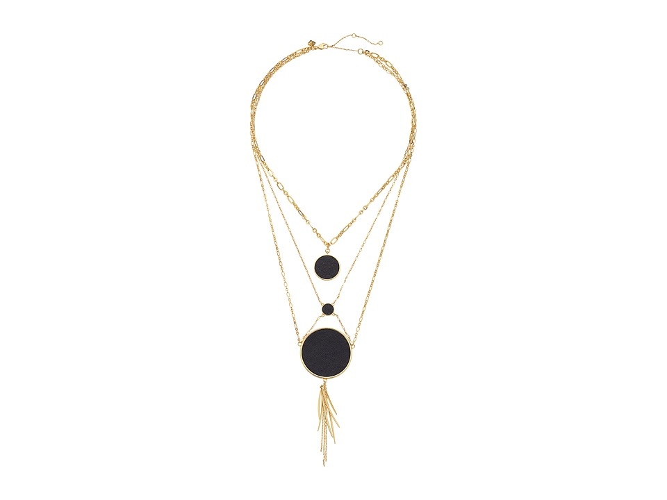Rebecca Minkoff Leather Inlet Statement Necklace Gold/Black Necklace