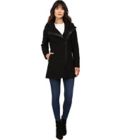 Calvin Klein - Asymmetrical PU Trim Hooded Wool with Quilted Liner